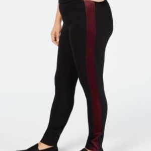 Velvet Side Seam Plus Size Tummy-Control Leggings